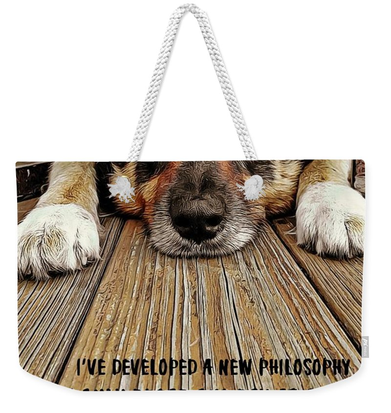 Puppy Weekender Tote Bag featuring the photograph A Dogs Life Quote by JAMART Photography