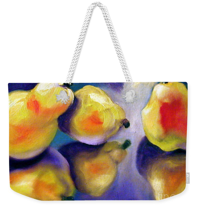 Pears Weekender Tote Bag featuring the painting Sweet Reflection by Susan A Becker