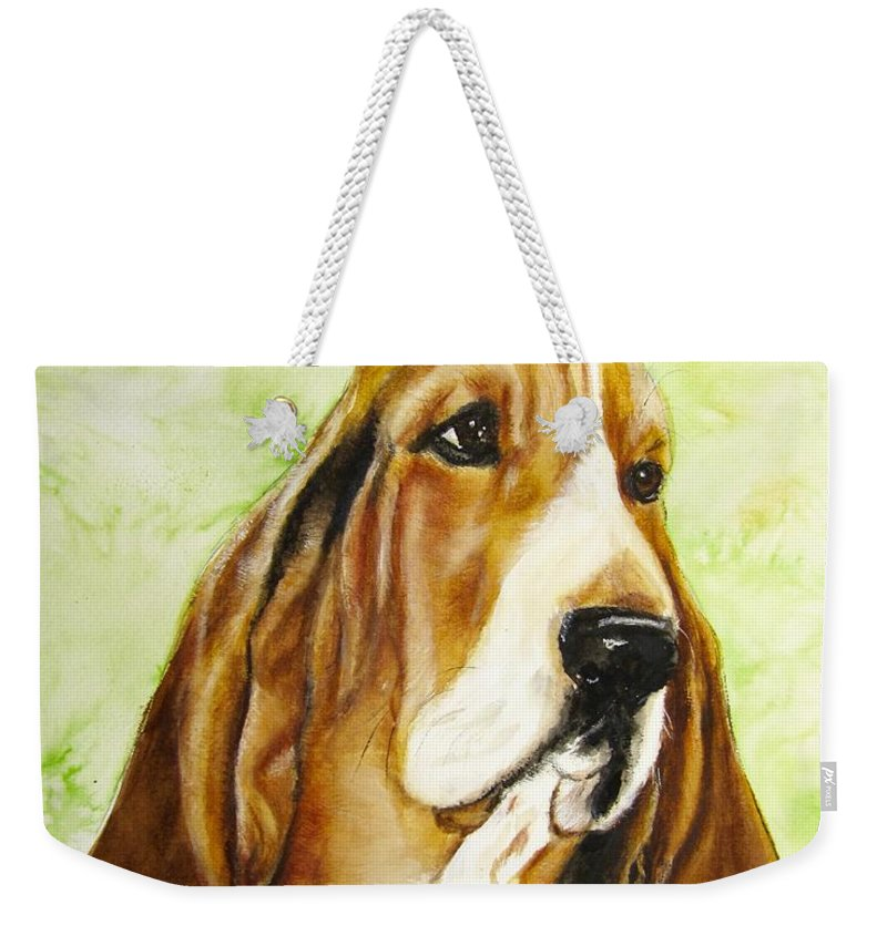 Basset Hound Painting Weekender Tote Bag featuring the painting Sweet Tea by Carol Blackhurst