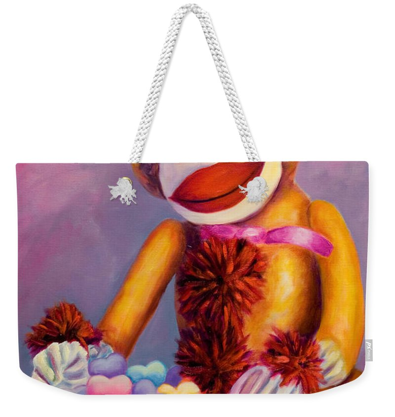 Heart Weekender Tote Bag featuring the painting Sweetheart Made Of Sockies by Shannon Grissom