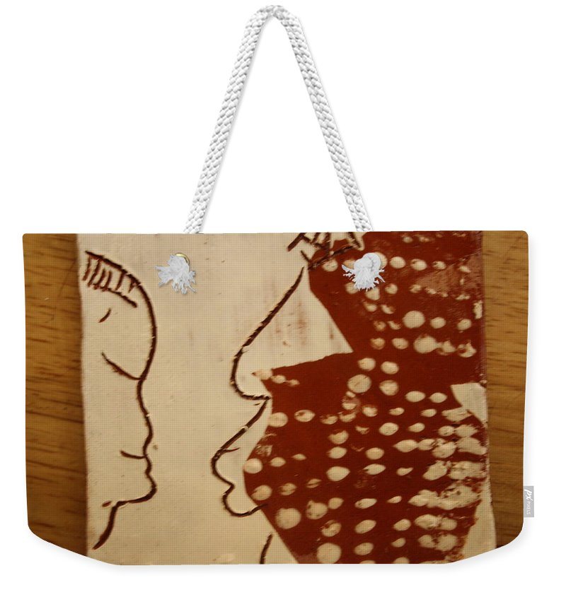 Jesus Weekender Tote Bag featuring the ceramic art Sweethearts 10 - Tile by Gloria Ssali