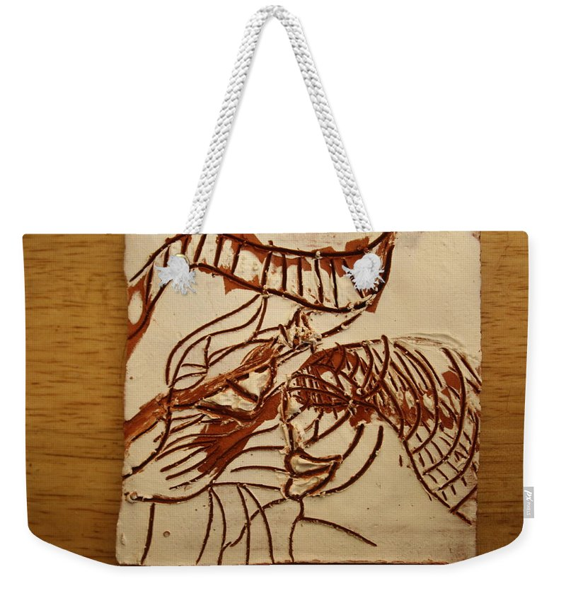 Jesus Weekender Tote Bag featuring the ceramic art Sweethearts 14 - Tile by Gloria Ssali