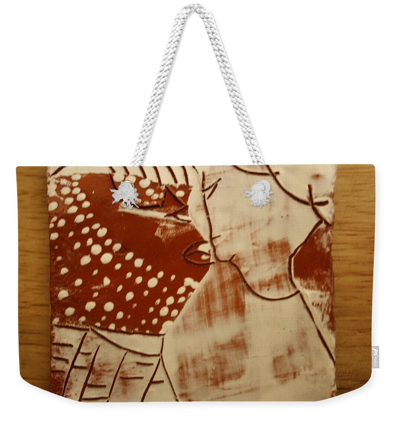 Jesus Weekender Tote Bag featuring the ceramic art Sweethearts 17 - Tile by Gloria Ssali