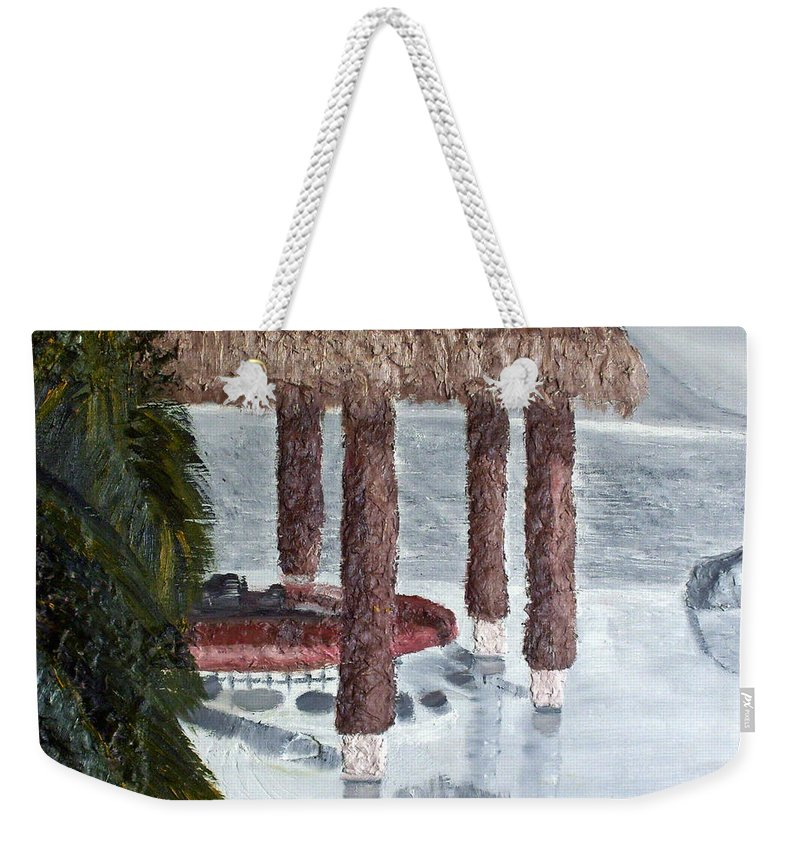 Still Life Paintings Weekender Tote Bag featuring the painting Swim To A Beach Bar Cool Huh by Leslye Miller