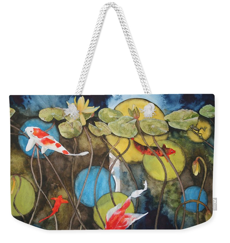 Abstract Weekender Tote Bag featuring the painting Swimming In Circles by Jean Blackmer