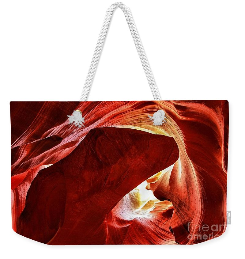Abstract Weekender Tote Bag featuring the photograph Swimming In Fire by Adam Jewell