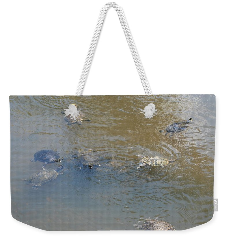 Water Weekender Tote Bag featuring the photograph Swimming Turtles by Rob Hans