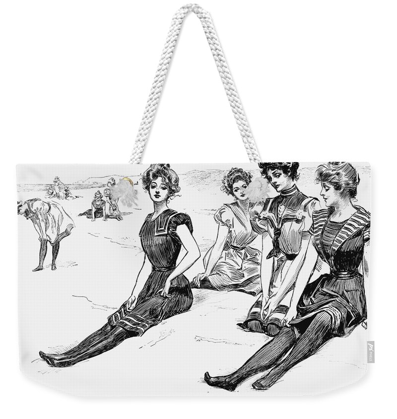 1900 Weekender Tote Bag featuring the photograph Swimsuits, 1900 by Granger