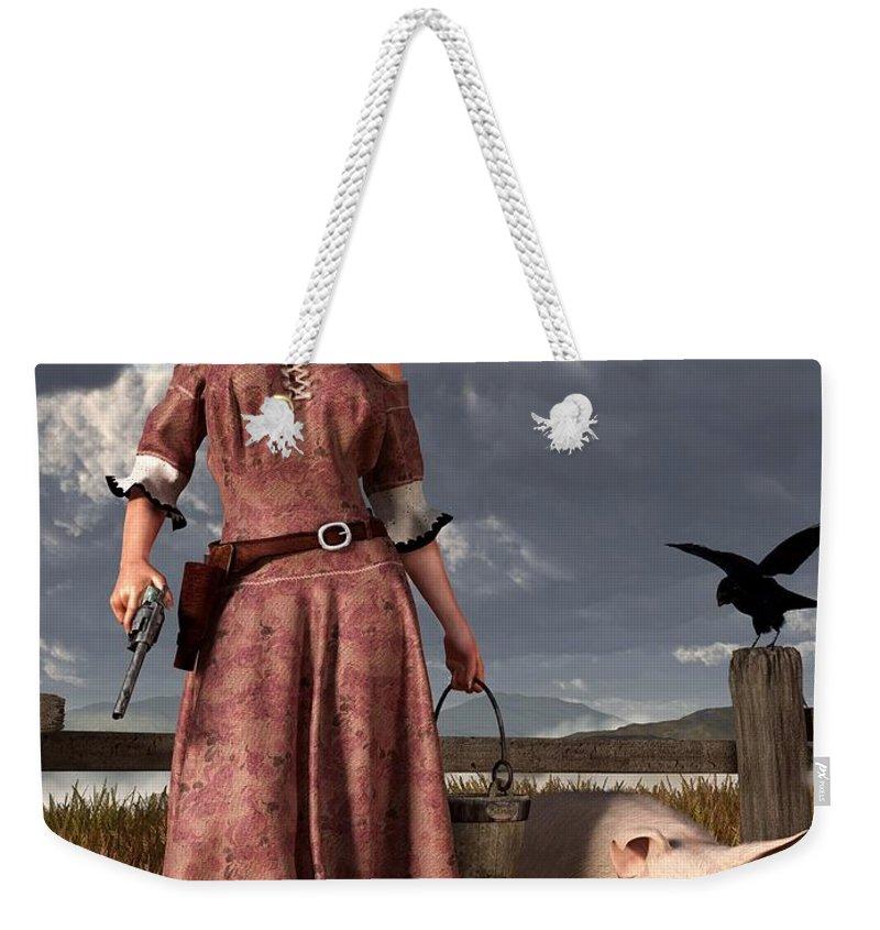 Pig Weekender Tote Bag featuring the digital art Swineherdess by Daniel Eskridge