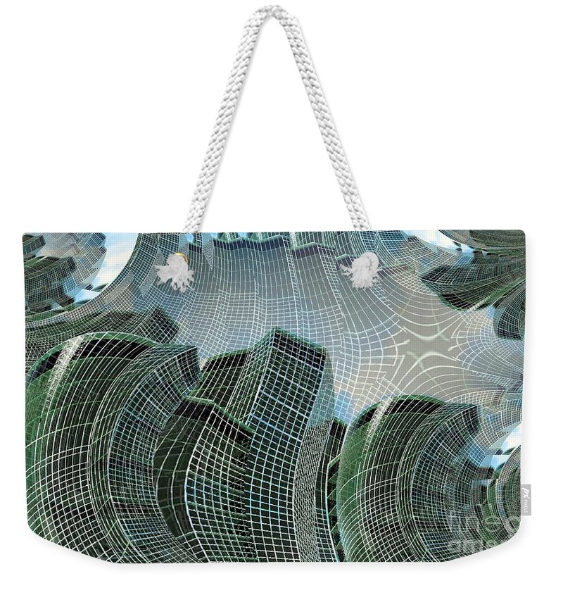 Glass Tower Weekender Tote Bag featuring the digital art Swing City by Ron Bissett