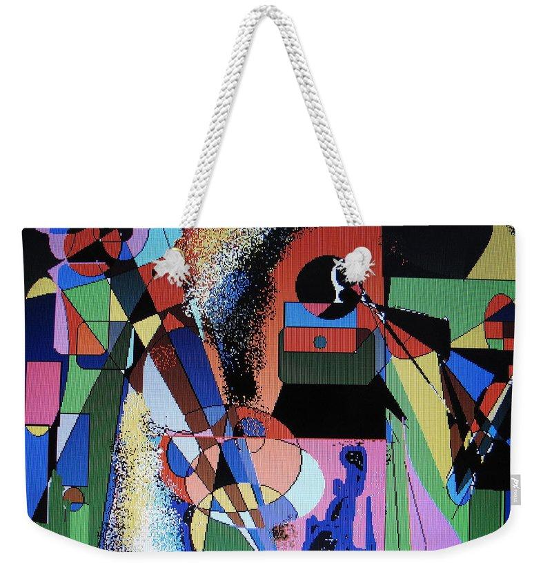 Jazz Weekender Tote Bag featuring the digital art Swinging Trio by Ian MacDonald