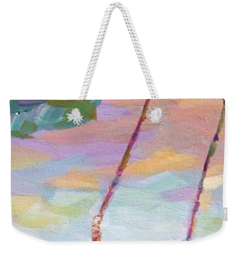 Child Swinging Weekender Tote Bag featuring the painting Swinging With Sunset Energy by Naomi Gerrard