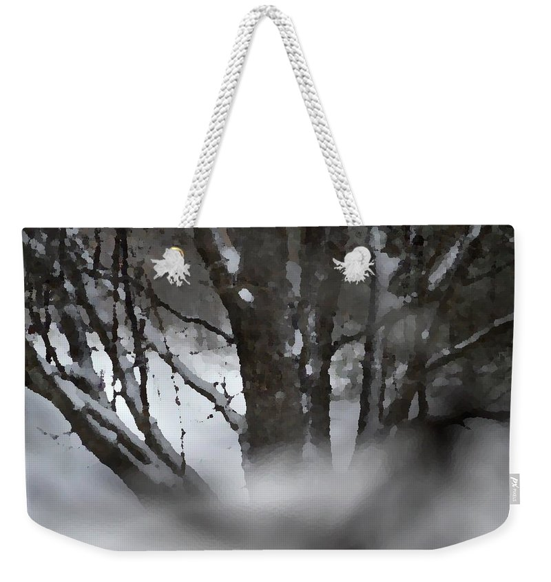 Tree Weekender Tote Bag featuring the mixed media Swirling Into Winter by Brenda Spencer