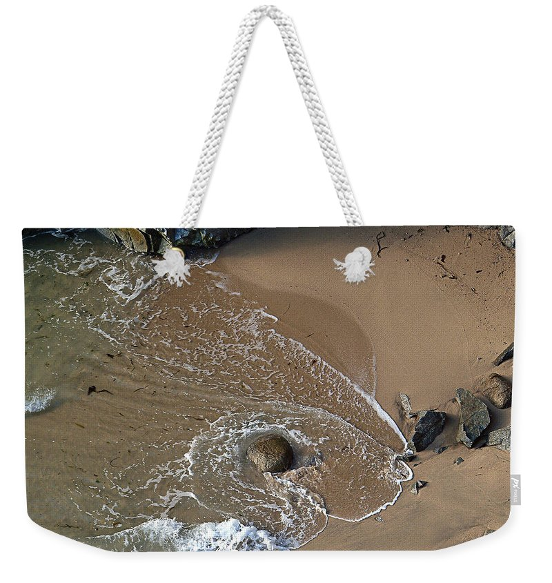 Big Sur Weekender Tote Bag featuring the photograph Swirling Surf And Rocks by Charlene Mitchell