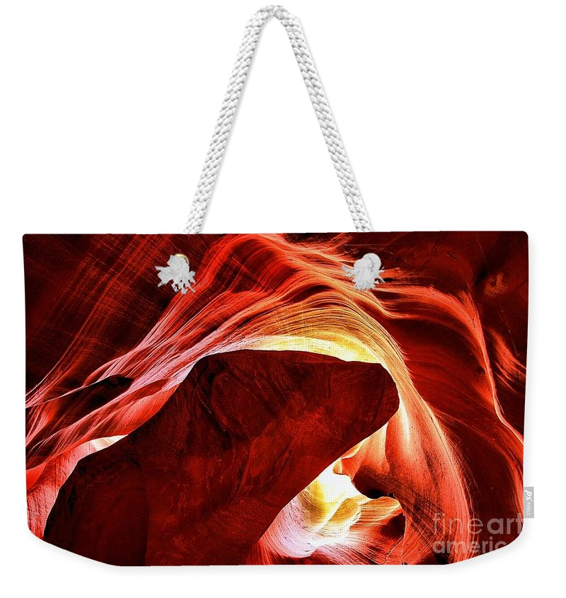 Abstract Weekender Tote Bag featuring the photograph Swirls Of Fire by Adam Jewell
