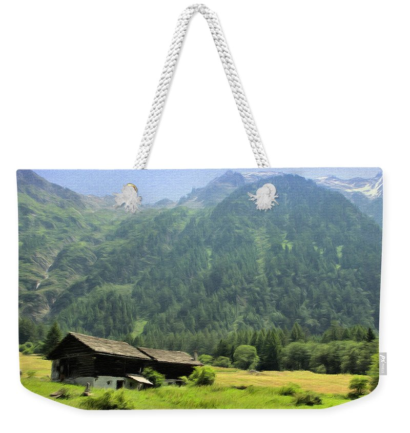 Switzerland Weekender Tote Bag featuring the painting Swiss Mountain Home by Jeffrey Kolker