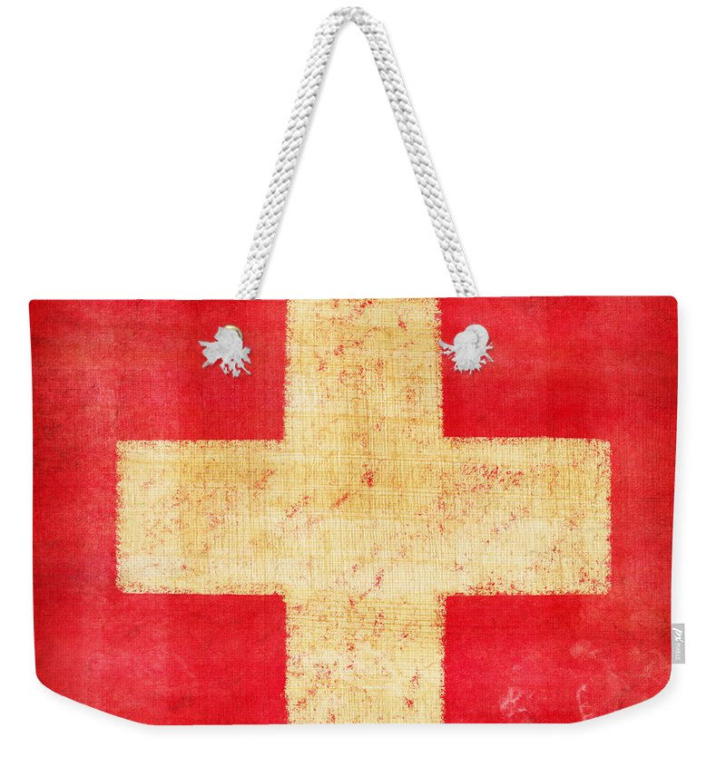 Abstract Weekender Tote Bag featuring the photograph Switzerland Flag by Setsiri Silapasuwanchai