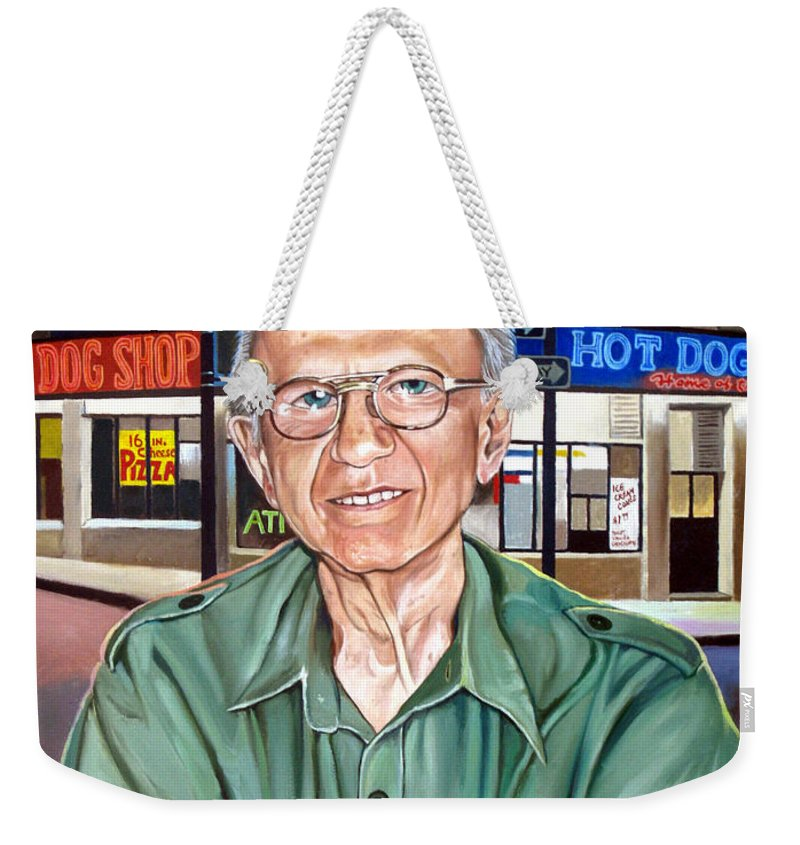 Syd Simon Weekender Tote Bag featuring the painting Syd Simon by Christopher Shellhammer