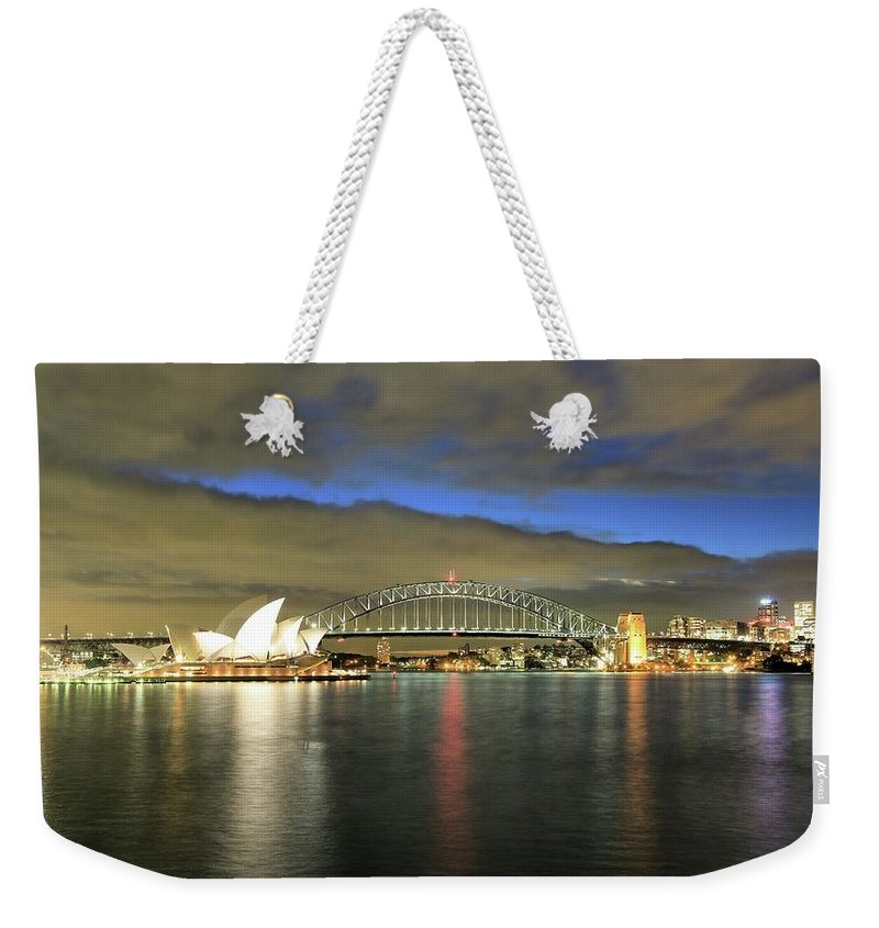 Photosbymch Weekender Tote Bag featuring the photograph Sydney Harbor At Blue Hour by M C Hood