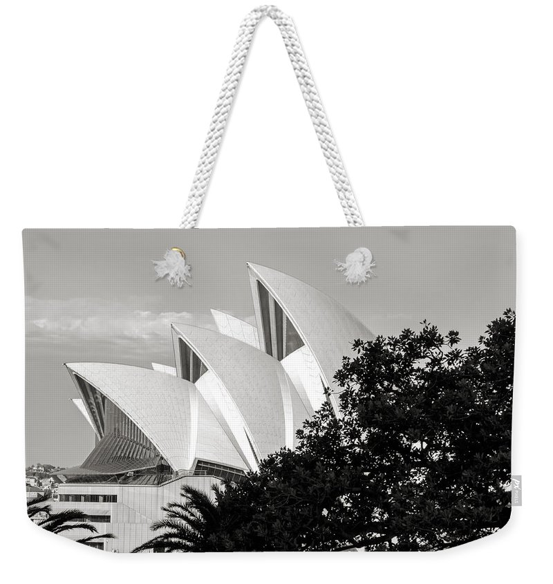 Sydney Weekender Tote Bag featuring the photograph Sydney Opera House Black And White by Nicholas Blackwell