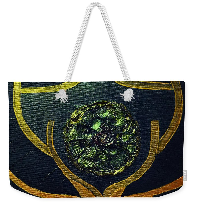 Abstract Weekender Tote Bag featuring the mixed media Symbol by Valerie Dauce