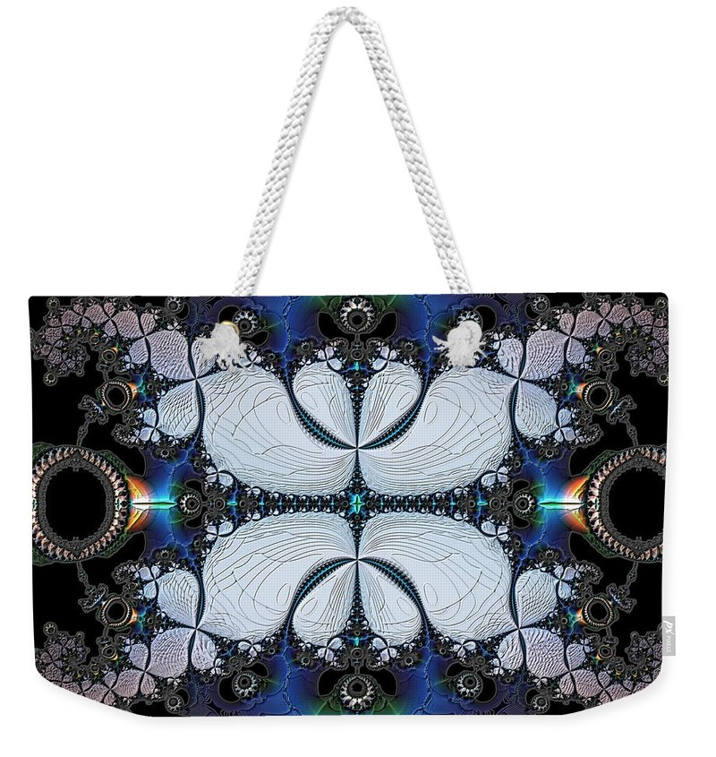 Abstract Weekender Tote Bag featuring the digital art Symmetry In Circuitry by Casey Kotas