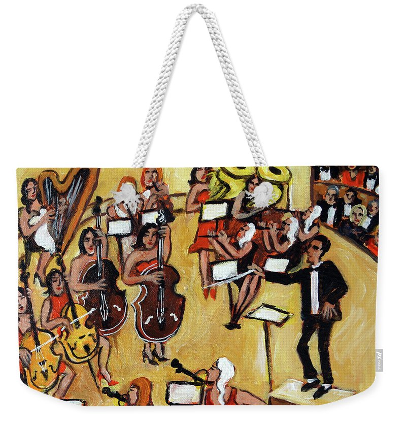 Carnegie Hall Orchestra Weekender Tote Bag featuring the painting Symphony by Valerie Vescovi