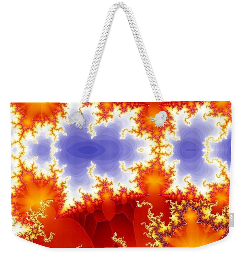 Fractal Weekender Tote Bag featuring the digital art Synapse 4 by Ron Bissett