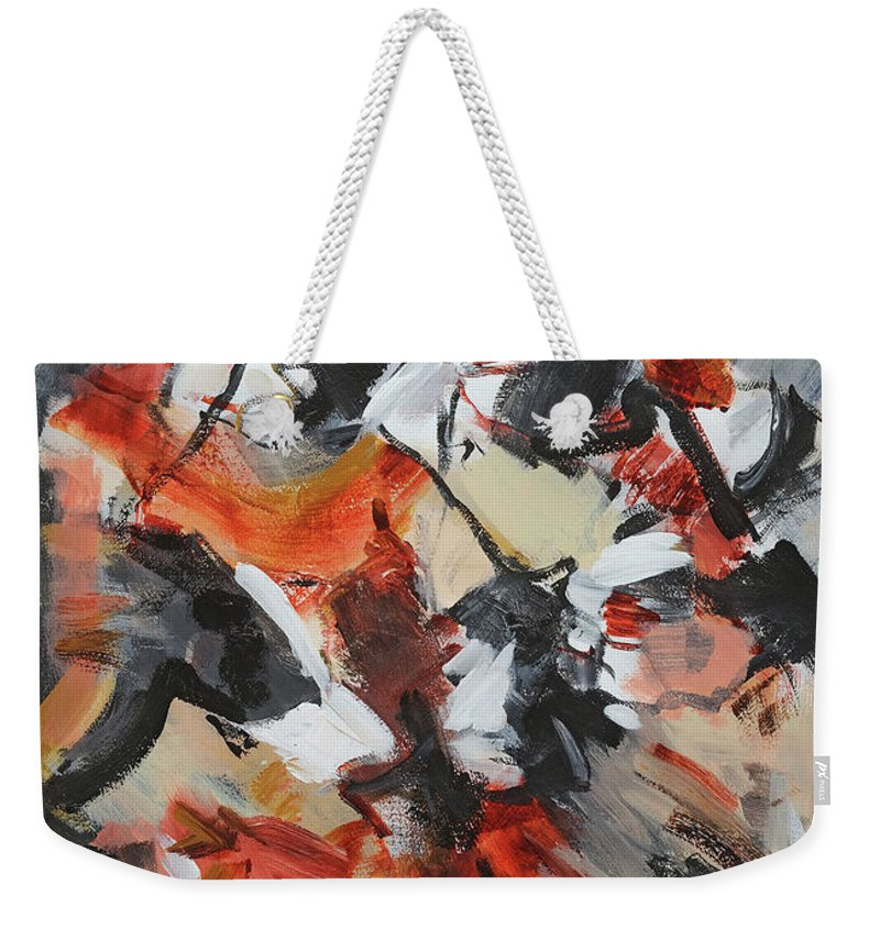 Abstract Acylic Painting Cathy Hirsh Weekender Tote Bag featuring the painting Syncopated Rhythms by Cathy Hirsh