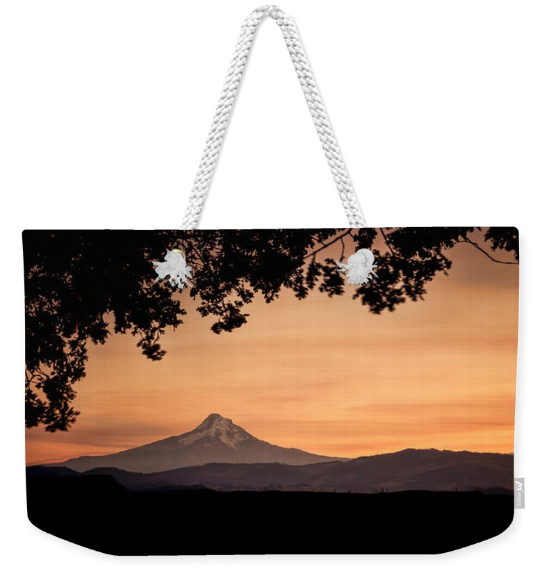Hood River Weekender Tote Bag featuring the photograph Mt. Hood At Sunset by Don Schwartz