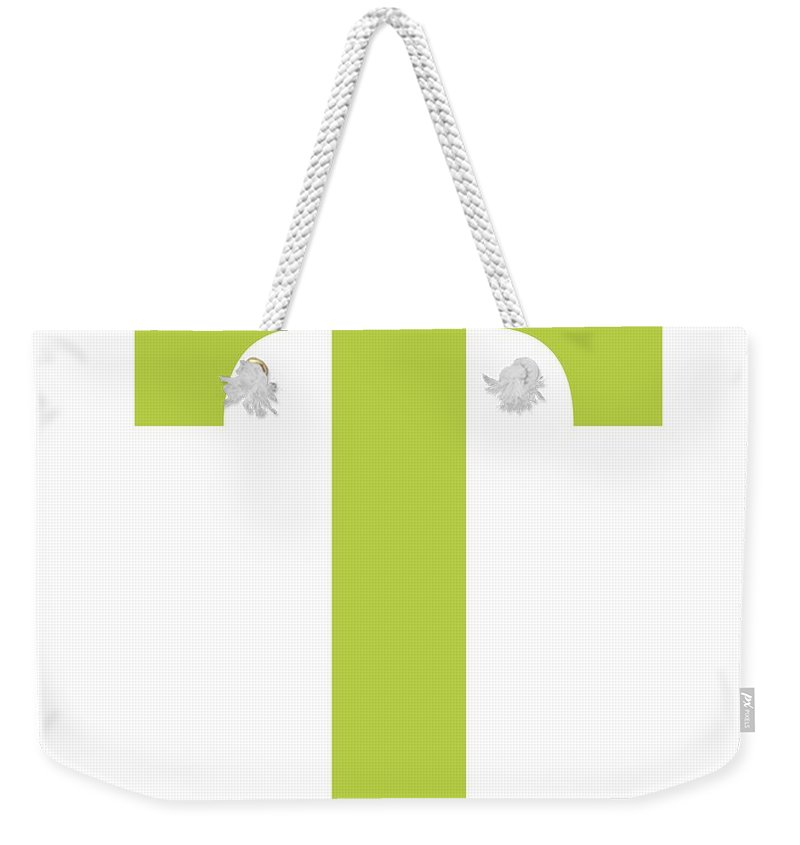 T Weekender Tote Bag featuring the digital art T In Spring Green Typewriter Style by Custom Home Fashions