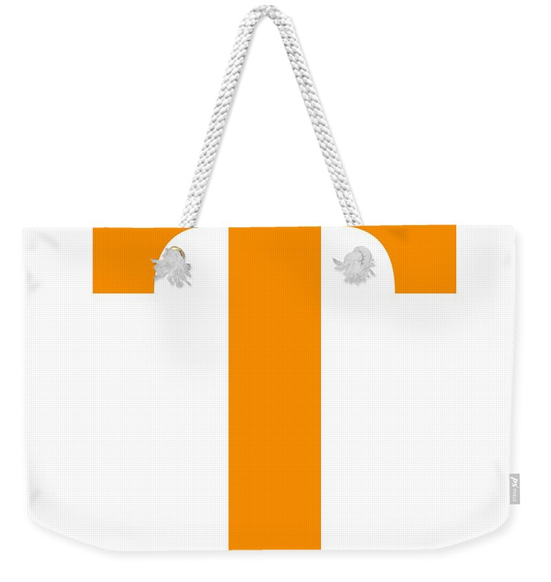 T Weekender Tote Bag featuring the digital art T In Tangerine Typewriter Style by Custom Home Fashions