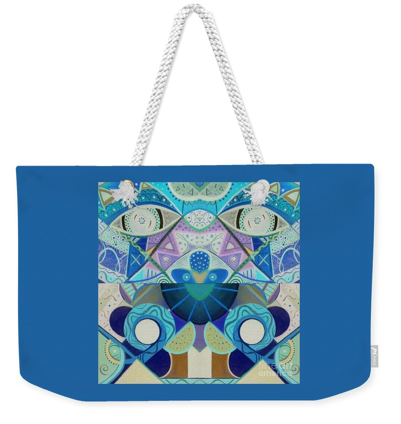 Abstract Weekender Tote Bag featuring the drawing T J O D Tile Variation 3 Inverted by Helena Tiainen