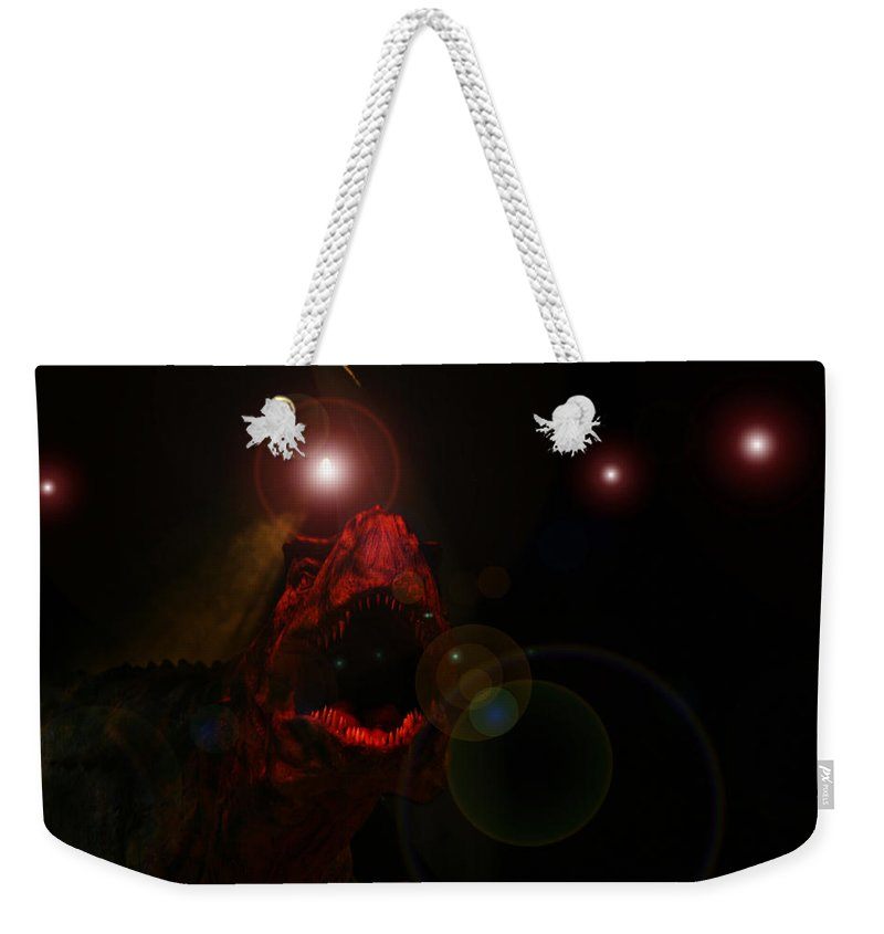Tyrannosaurus Rex Dinosaur Extinct Teeth Killer Jaws Weekender Tote Bag featuring the photograph T Rex by Andrea Lawrence