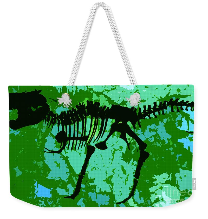 T Rex Weekender Tote Bag featuring the digital art T. Rex by David Lee Thompson