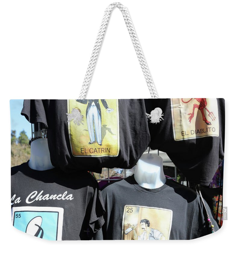 Dia De Los Muertos Weekender Tote Bag featuring the photograph T Shirt Display Day Of Dead by Chuck Kuhn