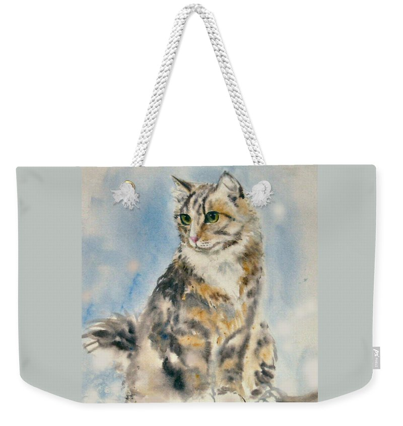 Cat Painting. Original.tabby Cat Weekender Tote Bag featuring the painting Tabby Cat by Frances Gillotti