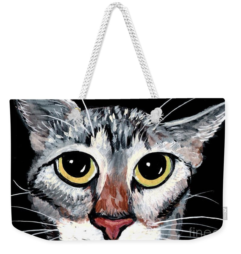 Cat Weekender Tote Bag featuring the painting Tabby Eyes by Elaine Hodges