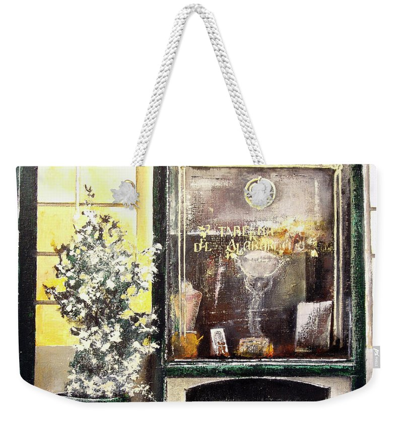 Old Weekender Tote Bag featuring the painting Taberna Del Alabardero-madrid by Tomas Castano