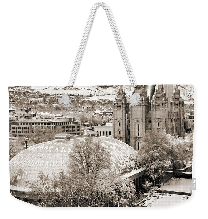 Mormon Weekender Tote Bag featuring the photograph Tabernacle And Temple by Marilyn Hunt