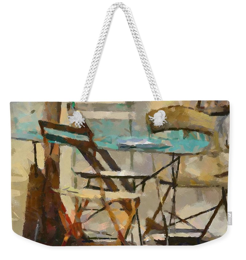 Cityscape Weekender Tote Bag featuring the painting Table Bleue Au Soleil by Dragica Micki Fortuna