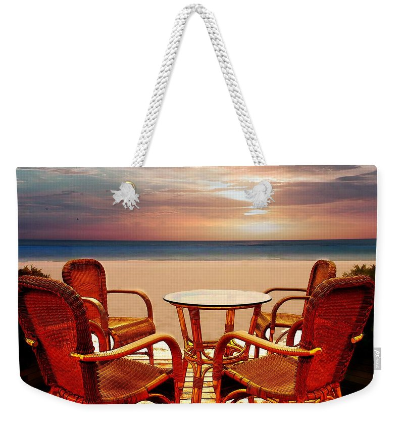 Beach Weekender Tote Bag featuring the painting Table For Four At The Beach At Sunset by Elaine Plesser