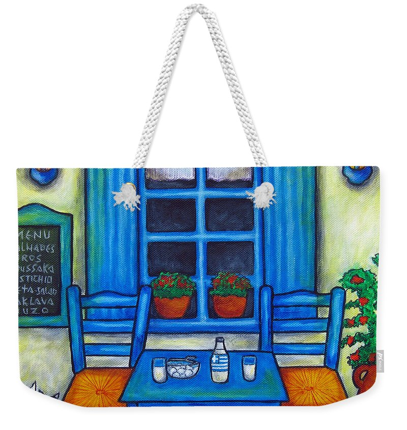 Blues Weekender Tote Bag featuring the painting Table for Two in Greece by Lisa Lorenz