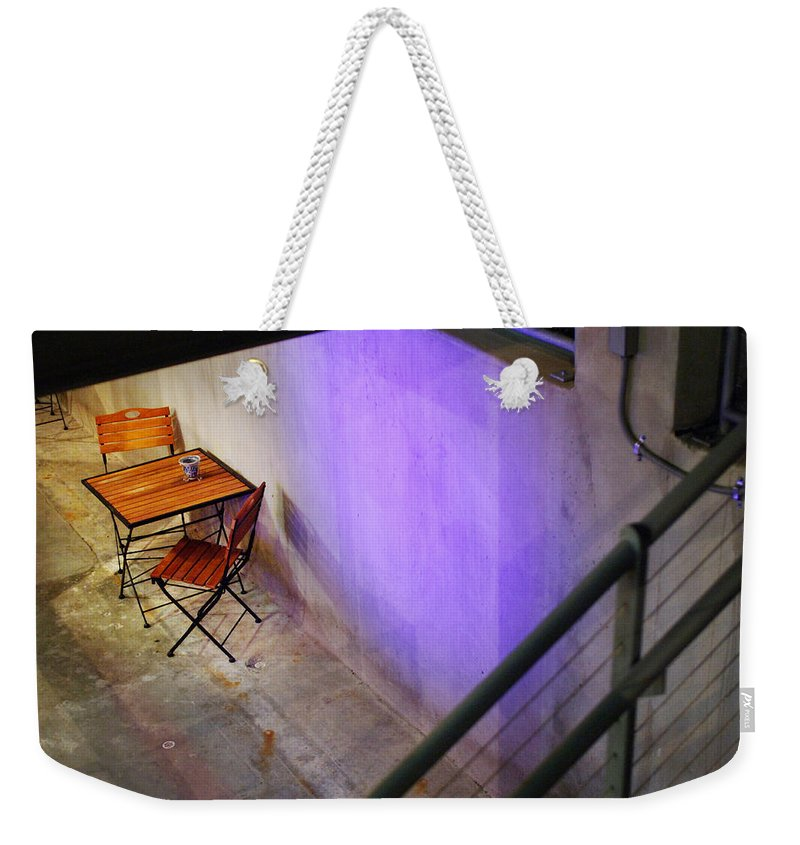 Cafe Weekender Tote Bag featuring the photograph Table For Two by Jill Reger