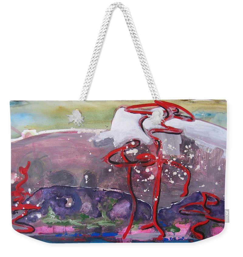 Abstract Paintings Weekender Tote Bag featuring the painting Table Land3 by Seon-Jeong Kim