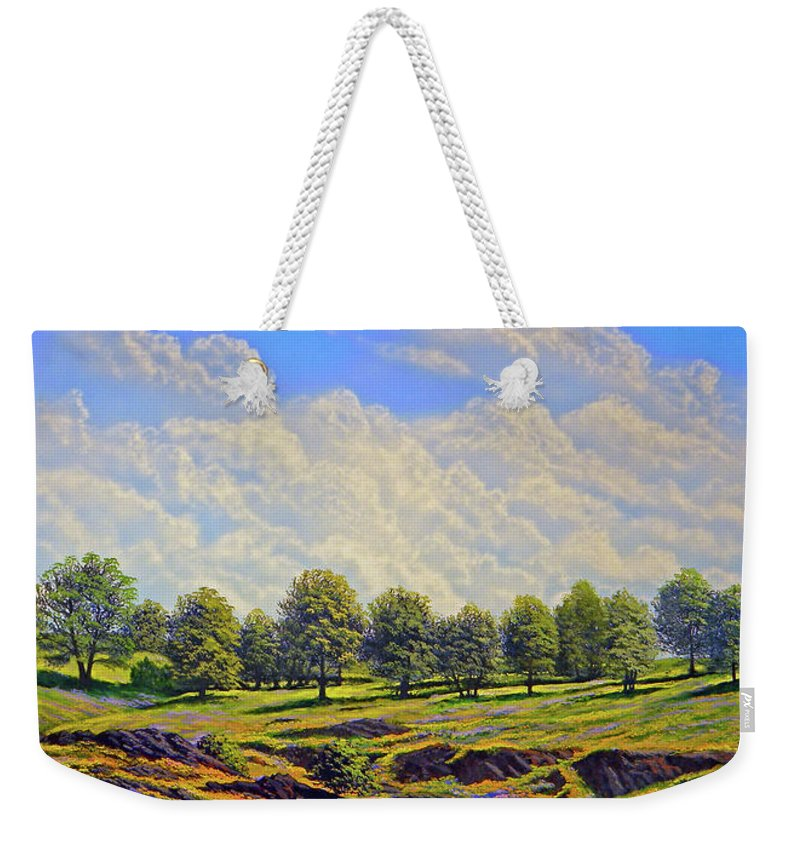 Landscape Weekender Tote Bag featuring the painting Table Mountain In Bloom by Frank Wilson