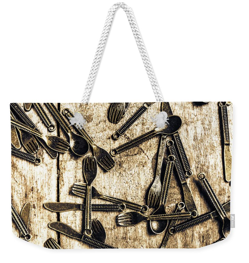 Kitchen Weekender Tote Bag featuring the photograph Tableware Abstract by Jorgo Photography - Wall Art Gallery
