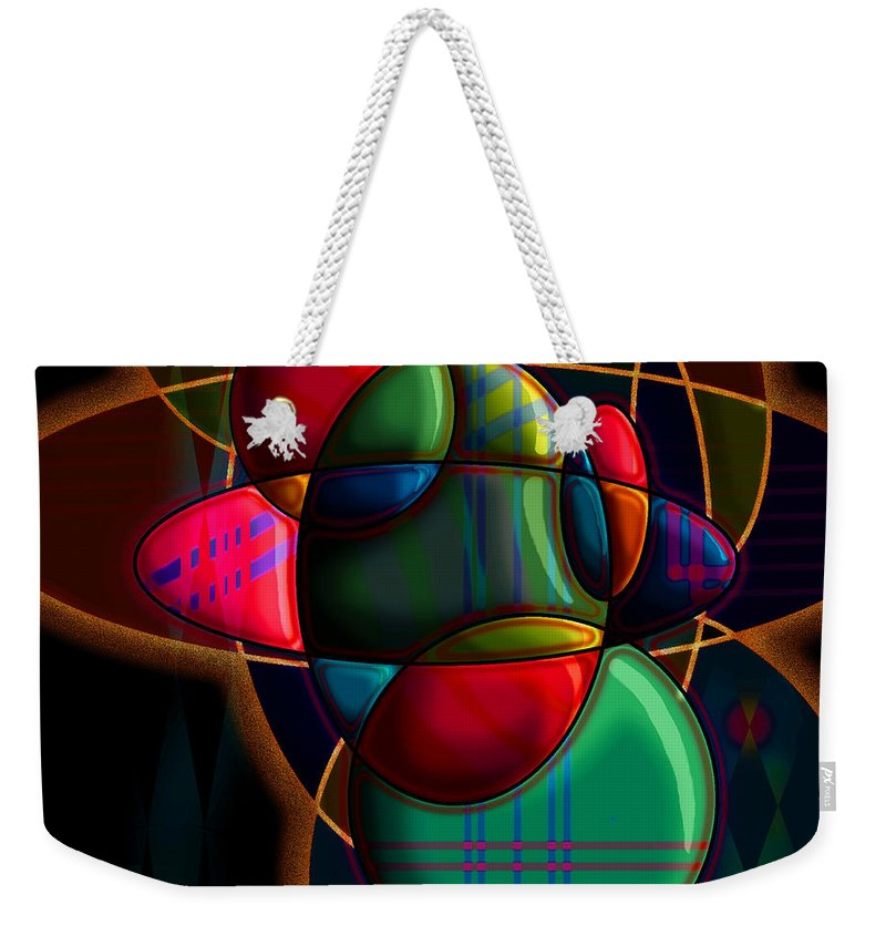 Modern Weekender Tote Bag featuring the digital art Tactile Space I by Stephen Lucas