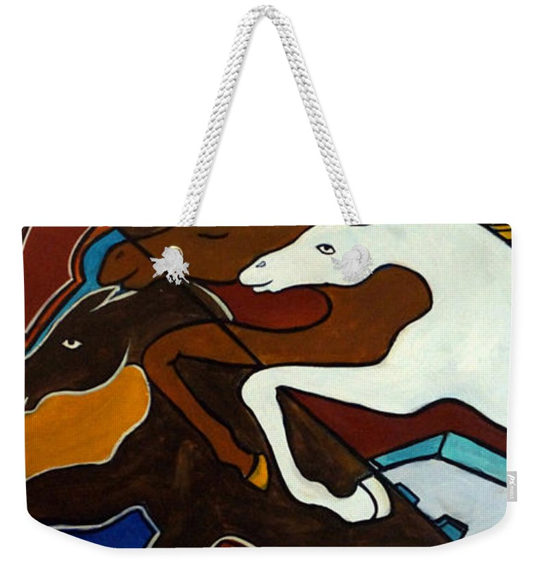 Horse Abstract Weekender Tote Bag featuring the painting Taffy Horses by Valerie Vescovi