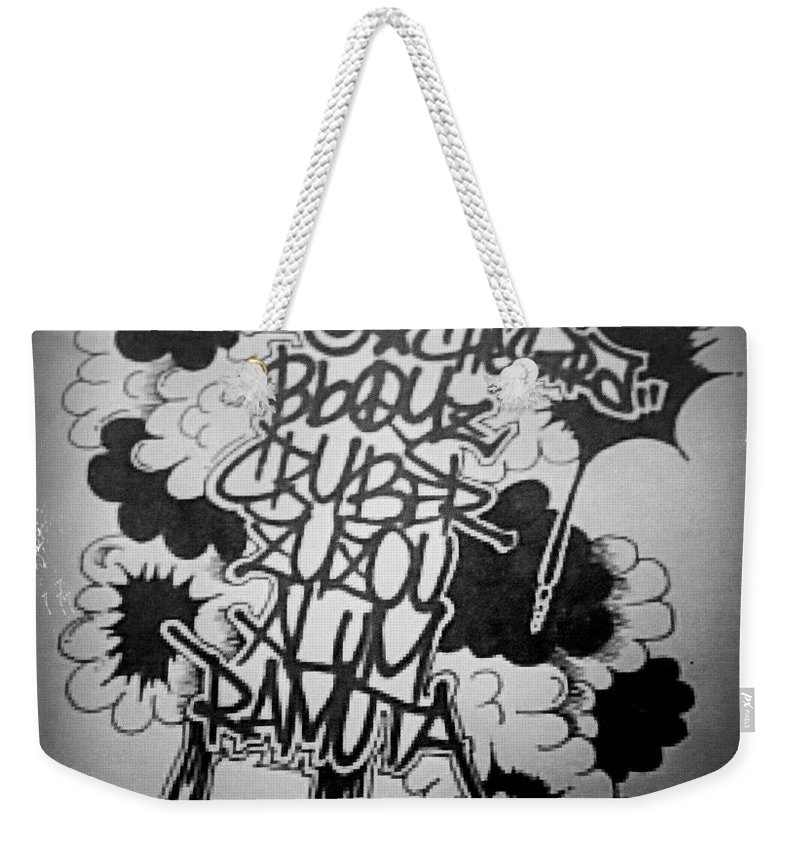 Weekender Tote Bag featuring the drawing Tagging by Zyzou Fukuno Daisuke